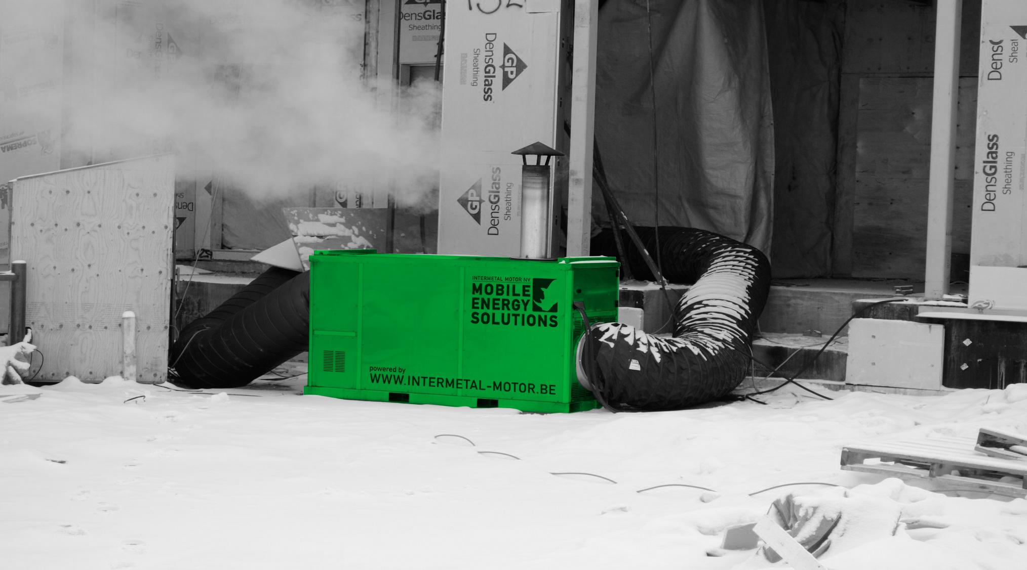 5) Verwarmen gebouw in aanbouw met recirculatie voor besparen brandstof